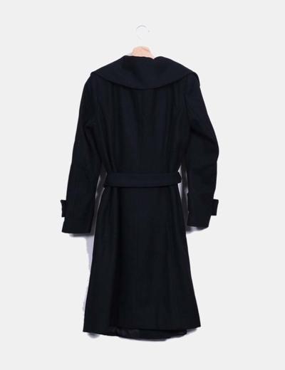 457c82e4d Zara Abrigo negro largo con cinturón (descuento 71%) - Micolet