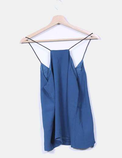 Blusa azul petroleo tirantes polipiel