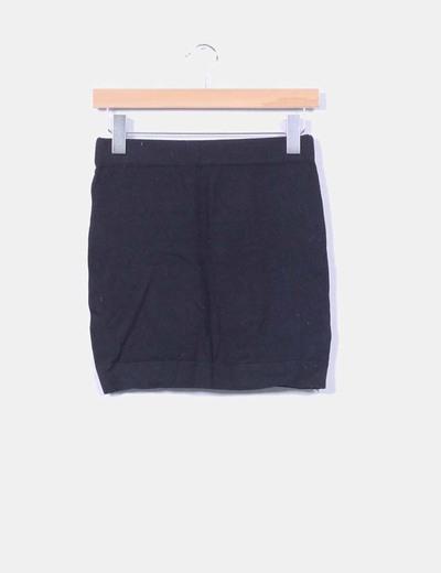 Mini falda negra de punto Bershka