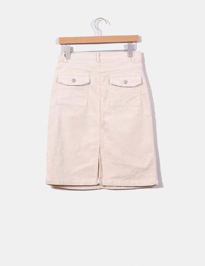 Falda midi cruda de pana