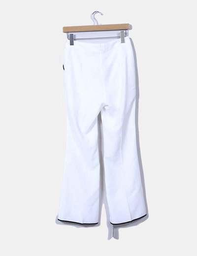 Pantalon palazzo blanco ribetes negros
