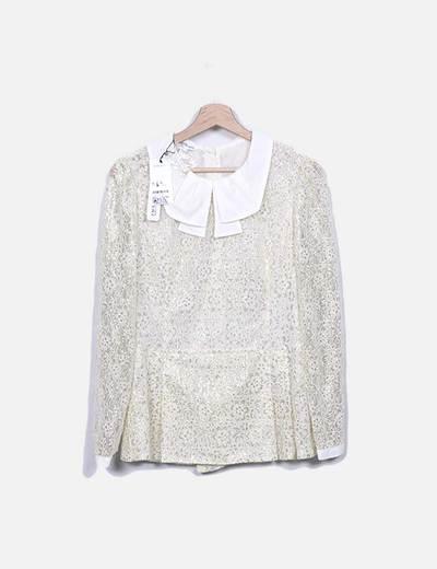 Blusa  beige glitter Suiteblanco