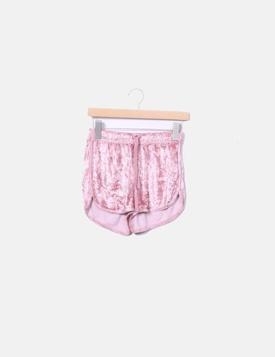 Shorts terciopelo rosa Bershka