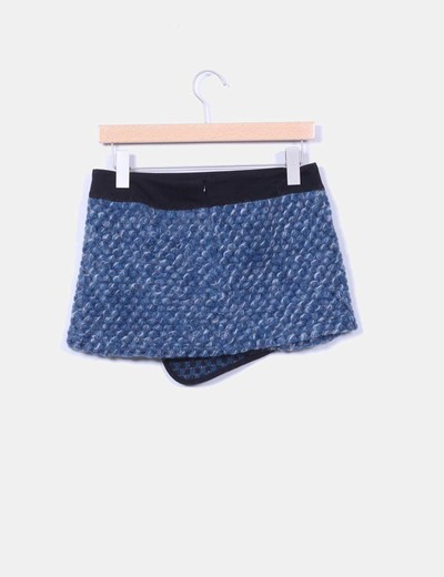 Minifalda azul jaspeada detalle bolsillo