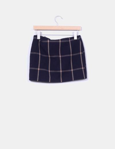 Mini falda de cuadros azul marino cremallera transversal
