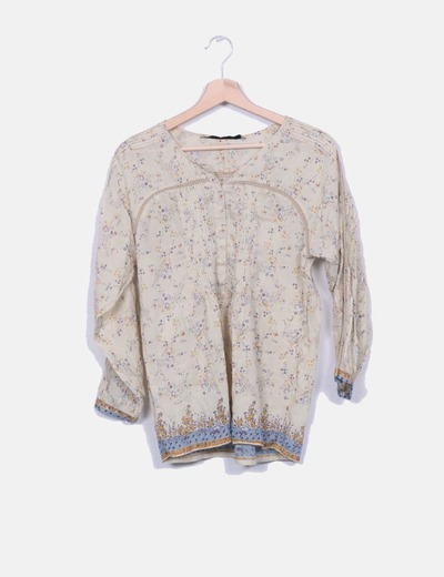Blusa combinada bege floral Zara