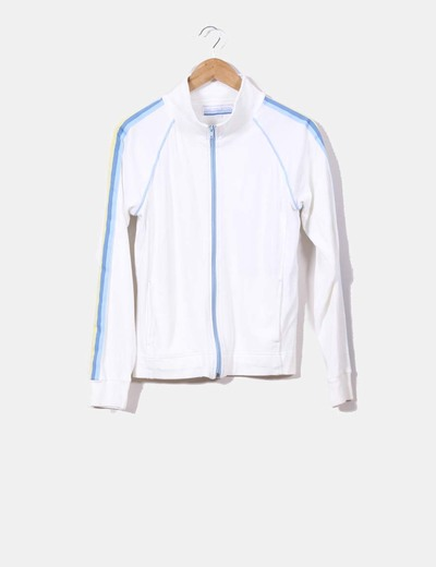 Chaqueta blanca sport con franjas azules NoName