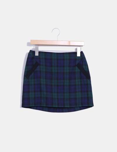 Mini falda navy cuadros verdes Topshop