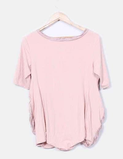 Top rosa tejidos combinados