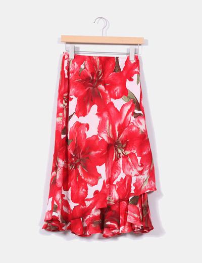 Chiffon skirt avolantada red flowers El Corte Inglés