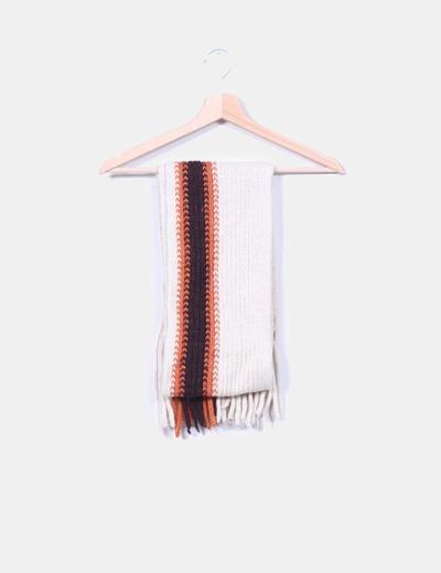 Bufanda de lana  tricolor con flecos Mango