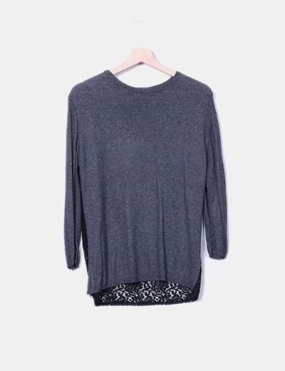 Jersey espalda de encaje Zara