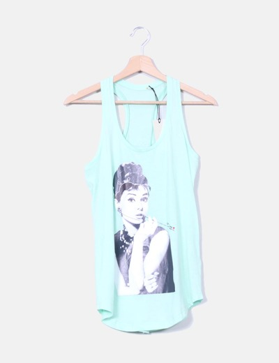 Top verde mint print Audrey Hepburn Be Happiness