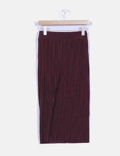 Falda larga burdeos texturizada