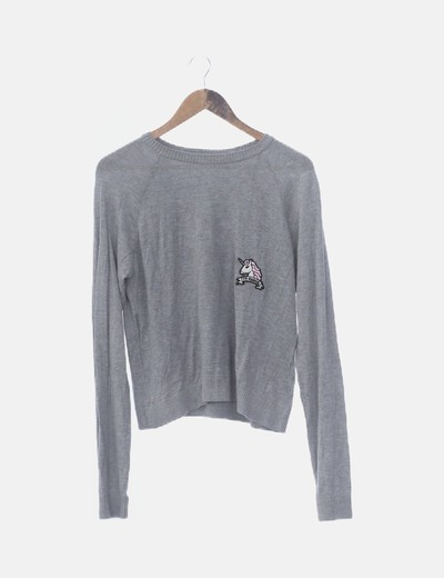 Jersey tricot gris patcwork