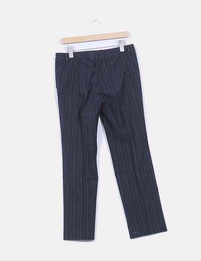 Pantalon de traje azul marino con raya diplomatica