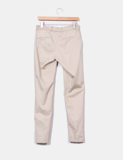 Pantalon traje satinado beige