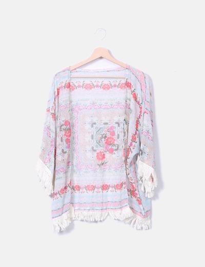 Kimono floral con flecos