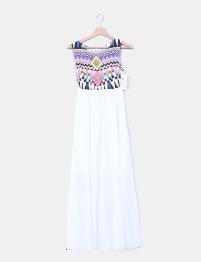 b0ed6bd04 NoName Vestido blanco estampado étnico en la parte superior ...