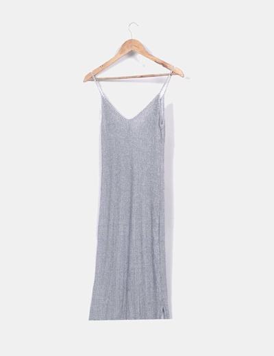 Vestido largo gris jaspeado