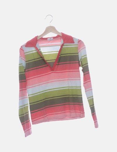 Camiseta manga larga rayas multicolor