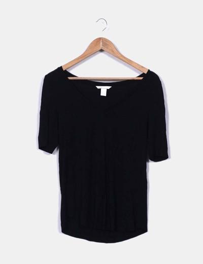 Camiseta negra básica oversize H&M