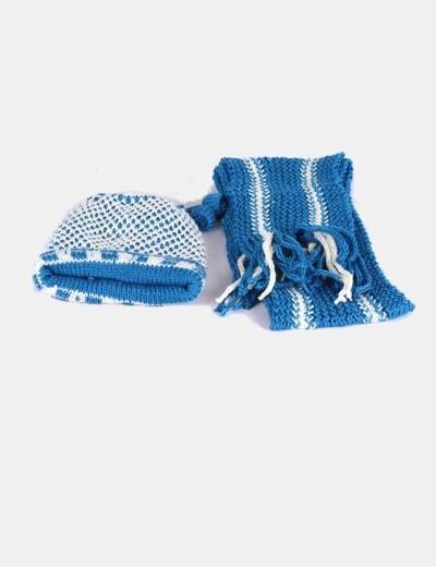 Conjunto gorro y bufanda punto azul y beige NoName
