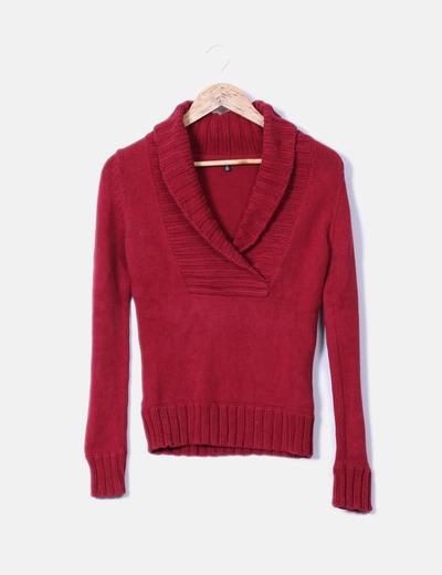 Pull couleur bordeau tricot Massimo Dutti