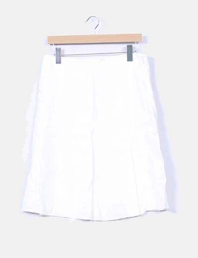 Falda midi beige con cinturón  Mango