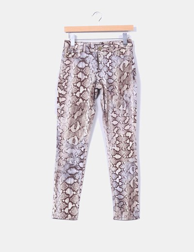 Pantalón pitillo print serpiente Zara