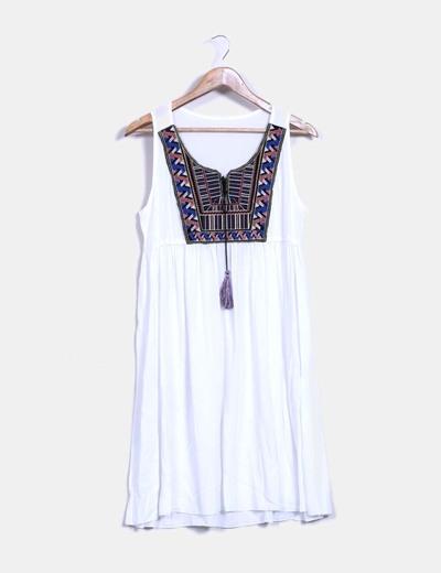 637b95739 NoName Vestido blanco étnico (descuento 58%) - Micolet