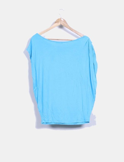 Camiseta azul turquesa print tigre con corona