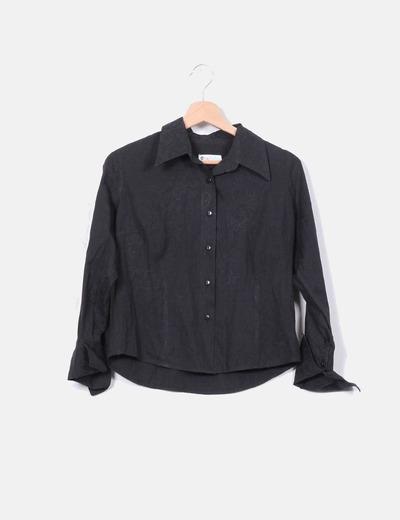 Camisa negra texturizada Bestseller
