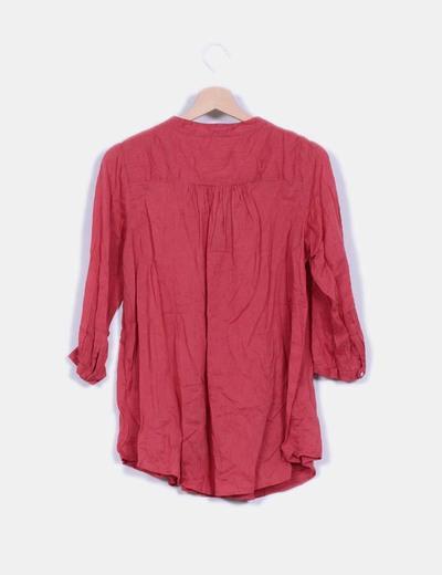 Blusa rosa de manga larga detalle cremallera escote