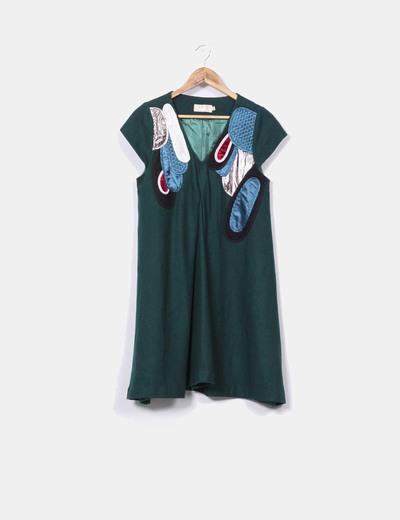 Vestido de paño verde botella texturizado BDBA