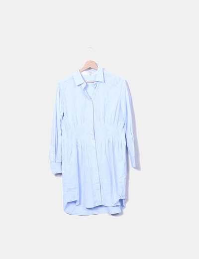 Vestido camisero azul plumetti