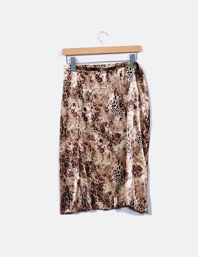 NoName Midi animal print satin skirt (discount 79%) - Micolet aa02252f570a