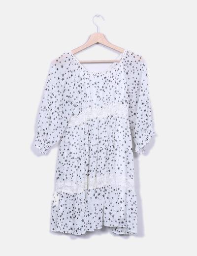 Vestido blanco estampado estrellas