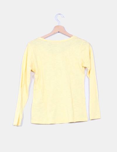 Camiseta amarilla flores plateadas