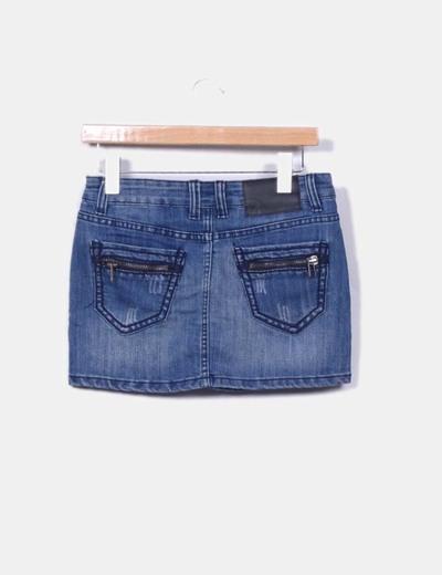 Mini falda denim con cremalleras en bolsillos traseros