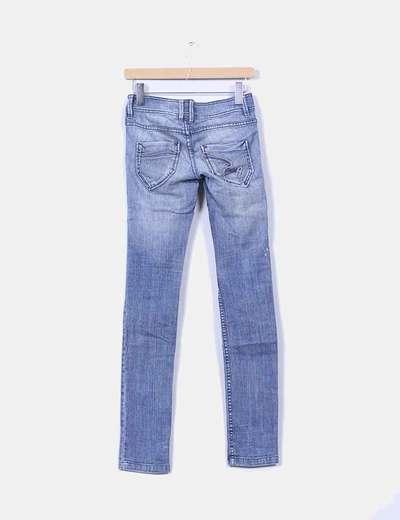 Jeans denim pitillo azul medio