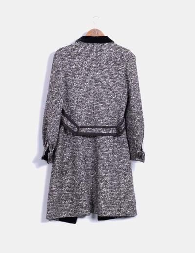 Abrigo largo tweed blanco y negro
