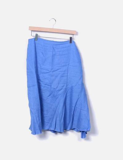 Blue midi skirt with ruffles El Corte Inglés