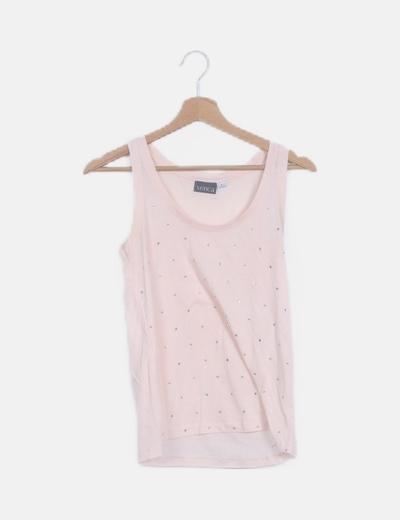 Camiseta rosa palo strass tirantes