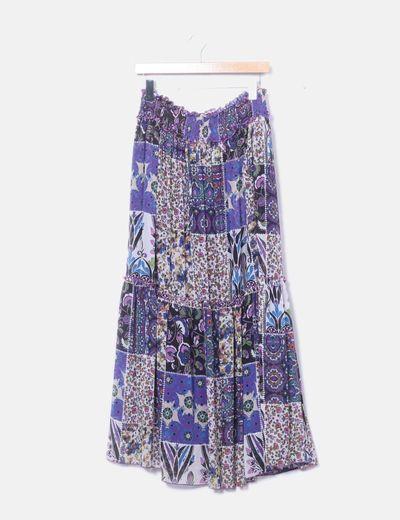 Falda de gasa multicolor