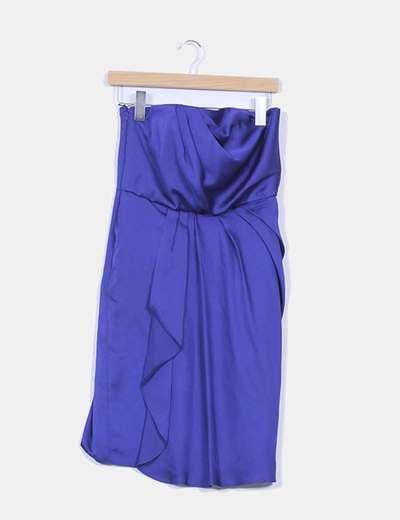 Vestidoefecto satinado  palabra de honor azul klein detalle pliegue  Coast