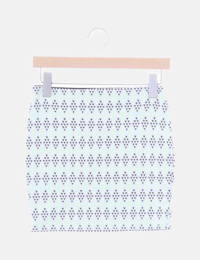 Falda blanca estampado flúor