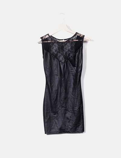 Waxed black dress with lace NoName
