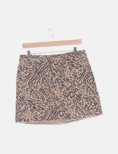 Mini falda marrón animal print