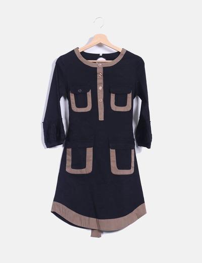 Vestido bicolor de manga francesa Almatrichi